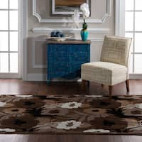 "Structure Floral in Brown Beige Area Rug ( 5' X 7'6"" )"