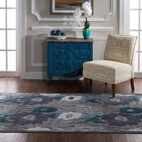 "Structure Floral in Blue Grey Area Rug ( 5' X 7'6"" ) - 5' x 7'6"""