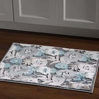 Structure Floral Blue Grey Area Rug (2' X 3') - 2' x 3'