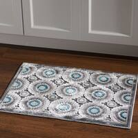Structure Cylinder Blue Grey Chenille Area Rug (2' X 3')