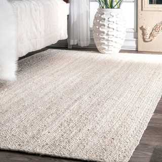 Havenside Home Coopers Handmade Eco Natural Fiber Braided Reversible Jute White Area Rug - 10' x 14'