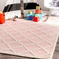 nuLOOM Handmade Abstract Fancy Trellis Wool Pink Area Rug - 9'6'' x 13'6''