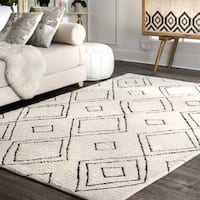 Palm Canyon Laurel Handmade Moroccan Diamond Trellis Wool Natural Area Rug