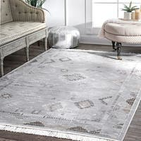 nuLOOM Vintage Faded Diamond Patches Tassel Silver Area Rug (10' x 14') - 10' x 14'