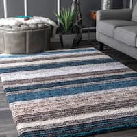 Havenside Home Siesta Handmade Striped Plush Multi Blue Shag Area Rug - 10' x 14'