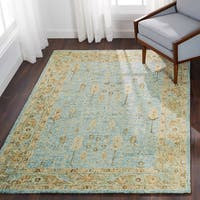 Hand-hooked Traditional Blue/ Gold Mosaic Wool Rug - 12' x 15'