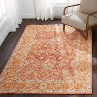 Hand-hooked Traditional Rust/ Gold Mosaic Wool Rug - 9'3 x 13'