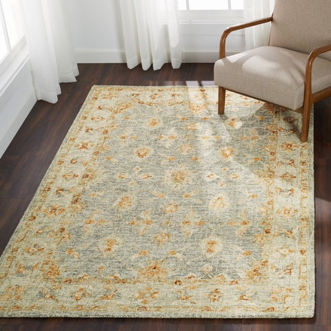 Hand-hooked Traditional Light Blue/ Rust Mosaic Wool Rug - 12' x 15'