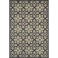 Indoor/ Outdoor Hand-hooked Grey Floral Mosaic Rug - 9'3 x 13'