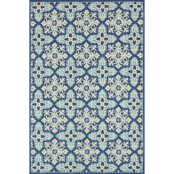 Indoor/ Outdoor Hand-hooked Blue Floral Mosaic Rug - 9'3 x 13'