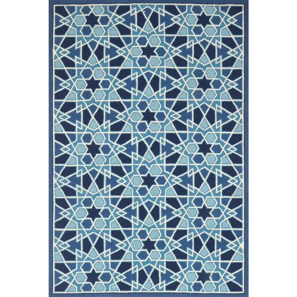 Indoor/ Outdoor Hand-hooked Blue Geometric Mosaic Rug - 9'3 x 13'