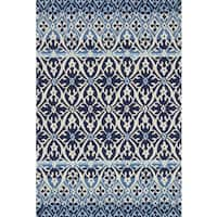 Indoor/ Outdoor Hand-hooked Blue Damask Rug - 9'3 x 13'