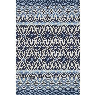 Indoor/ Outdoor Hand-hooked Blue Damask Rug - 9'3 x 13'