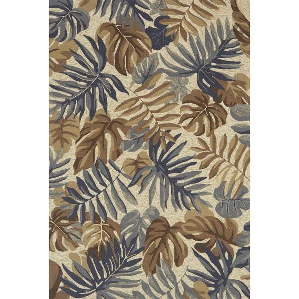 Indoor/ Outdoor Hand-hooked Grey/ Taupe Tropical Palm Leaf Rug - 9'3 x 13'