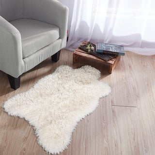 Ottomanson Soft Faux Fur Fake Sheepskin Chair Cover Seat Pad Shag Rugs - 2' x 3'