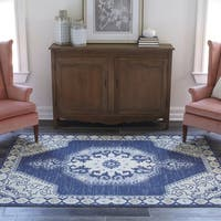 "Momeni Anatolia Machine Made Wool and Nylon Navy Area Rug - 9'9"" x 12'6"""