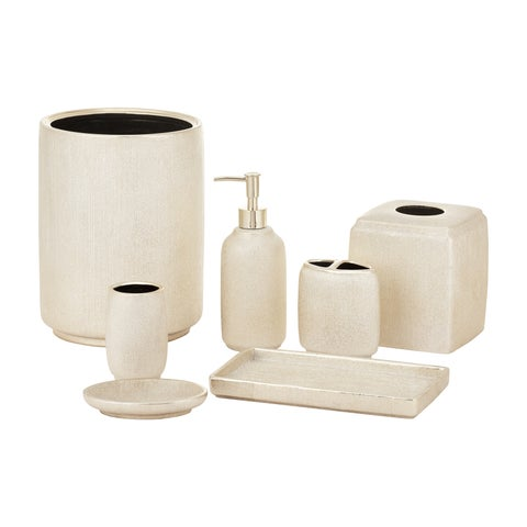 Five Queens Court Valerie Metallic Gold Stoneware Bathroom Accessories