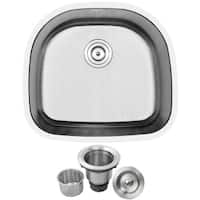 "23 1/2"" Ticor L7 Foster Series 18-Gauge Stainless Steel Undermount Single Basin Kitchen Sink"