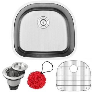 "23 1/2"" Ticor L7 Foster Series 18-Gauge Stainless Steel Undermount Single Basin Kitchen Sink with Accessories"