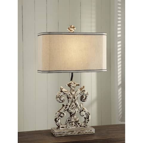 Lewiston Antique White Washed Wood 26-inch Table Lamp
