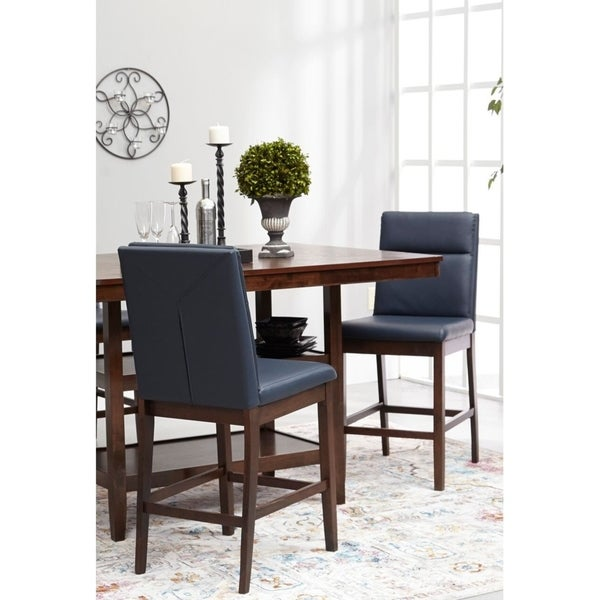 Home Source Reign Walnut Pub Chairs With Navy Blue Faux Leather Upholstery  (Set Of 2