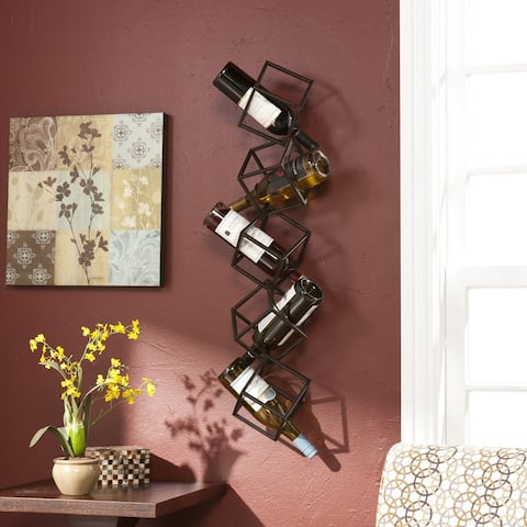 Carbon Loft Forsythia Black Metal Geometric Wall Mount Wine Rack