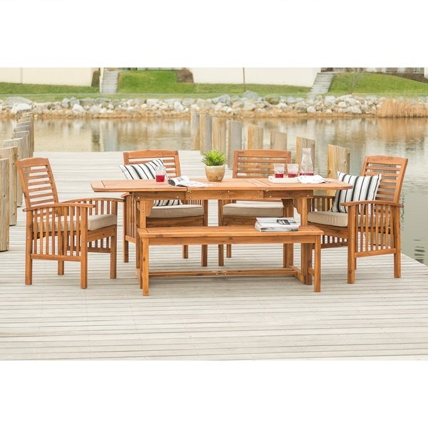 8c85f09e6e Shop Havenside Home Galveston 6-Piece Acacia Outdoor Dining Set - On ...