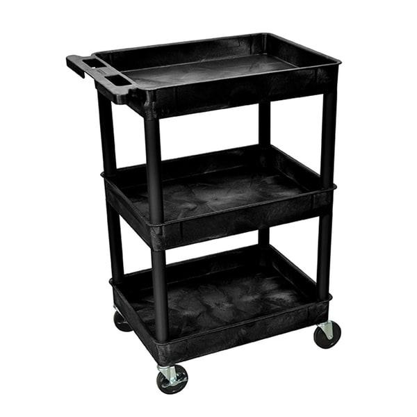 Offex OF-STC111-B Black 3 Tub Shelves Multipurpose Utility Cart