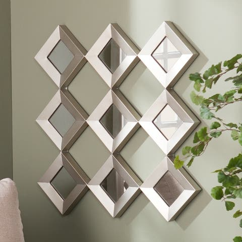 Silver Orchid Olivia Mirrored Squares Wall Sculpture - Antique Silver
