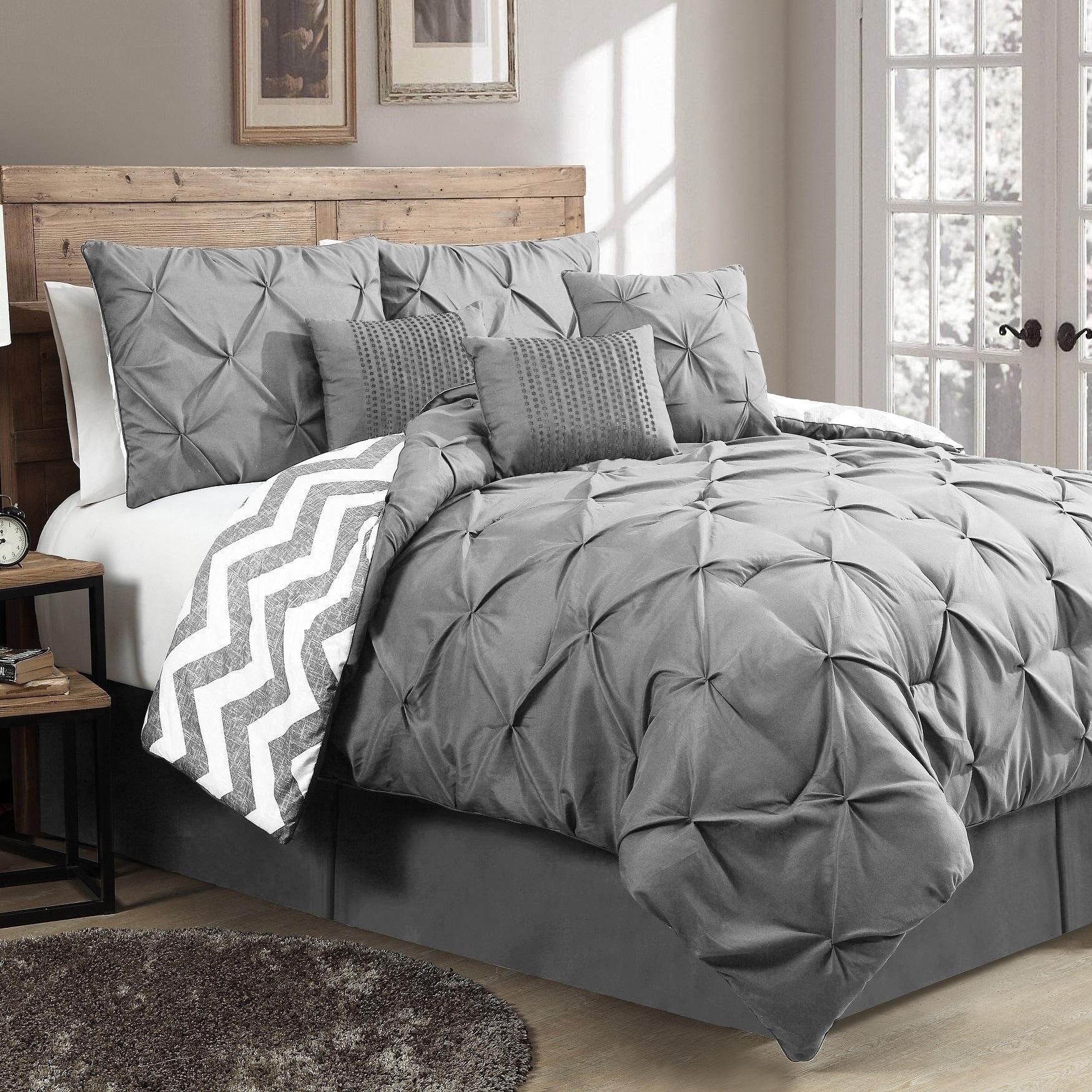 Ella Pinch Pleat Reversible Comforter Set with Throw Pillows (King - Blue)
