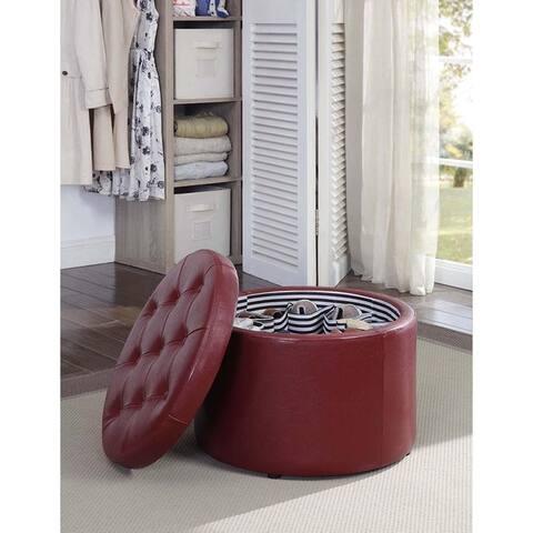 Porch & Den Deslonde Round Shoe Storage Ottoman