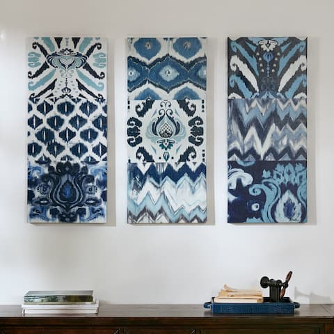 The Curated Nomad Flourish Ikat Gel Canvas 3-piece Art Set