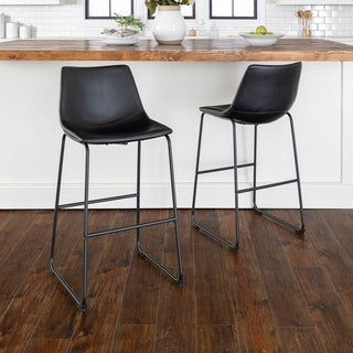 "30"" Faux Leather Barstool, Set of 2 - 18 x 22 x 40h"