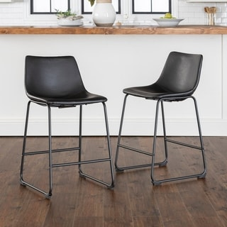 Carson Carrington Nordlandet 26-inch Black Faux Leather Counter Stool (Set of 2) - 18 x 22 x 36H