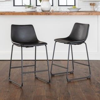 "Strick & Bolton Wynton 24"" Faux Leather Counter Stool, Set of 2 - 18 x 22 x 36h"