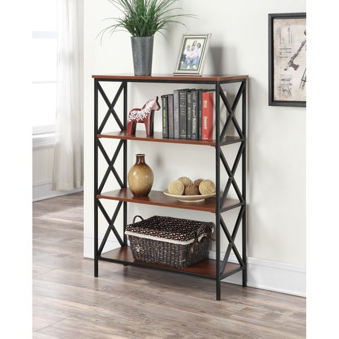 The Gray Barn Pitchfork Metal and Wood 4-tier Bookcase