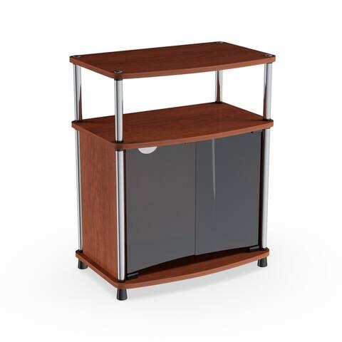 Porch & Den Derbigny Wood TV Stand with Black Glass Cabinet
