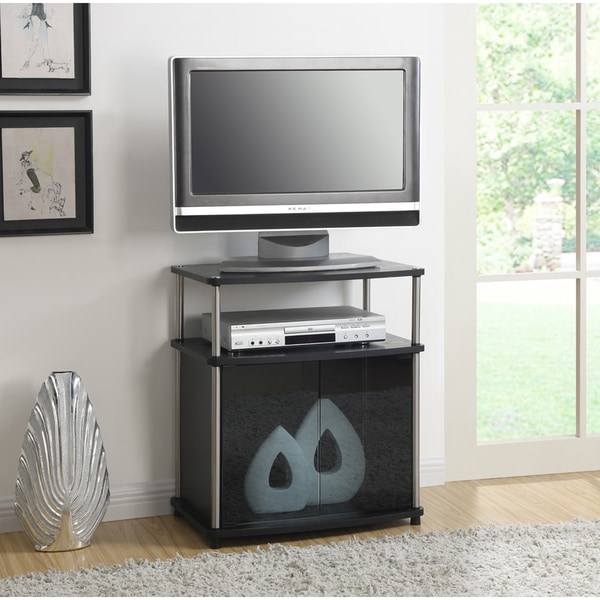 Porch & Den Derbigny Wood TV Stand with Black Glass Cabinet. Opens flyout.