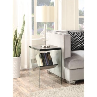 Porch & Den Urqhuart Wood/ Glass End Table