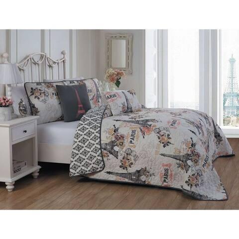Silver Orchid Hart 5-piece Paris Themed Quilt Set