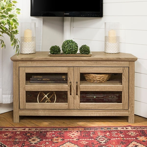 Copper Grove Bow Valley 44-inch Driftwood Corner TV Stand. Opens flyout.