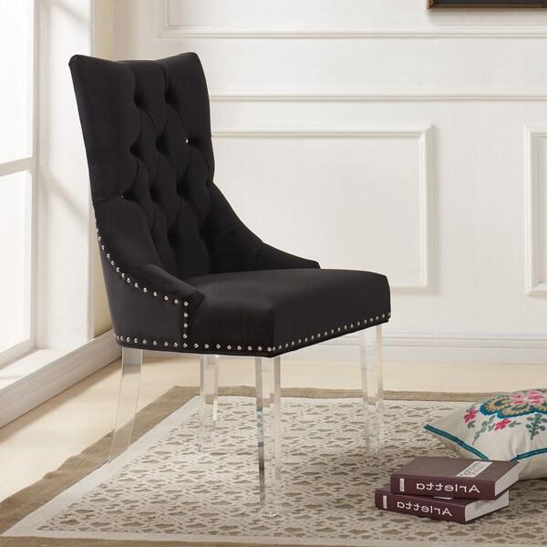 Armen Living Gobi Tufted Dining Chair In Velvet With Acrylic Legs   Black by Armen Living