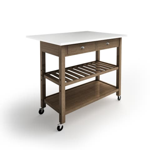 The Gray Barn Firebranch Wood and Stainless Steel Drop Leaf Kitchen Cart
