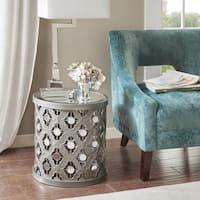 Silver Orchid Olivia Silver Quatrefoil Mirror Accent Table