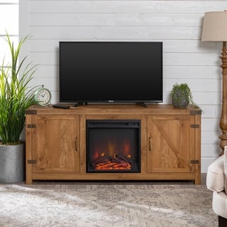 "The Gray Barn Firebranch 58"" Barn Door Fireplace TV Console"