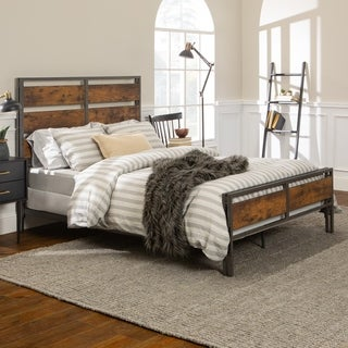 Carbon Loft Jolly Rustic Industrial Open Panel Plank Bed