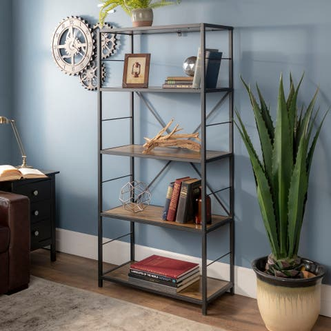 Carbon Loft Ora Rustic Metal and Wood Bookshelf - 30 x 14 x 63h