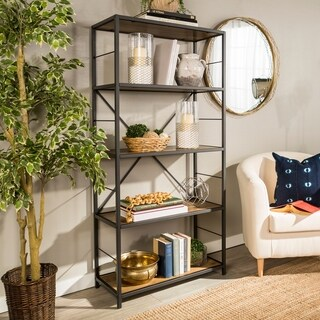 Carbon Loft Ora Metal and Wood Rustic Bookshelf - 30 x 14 x 63h