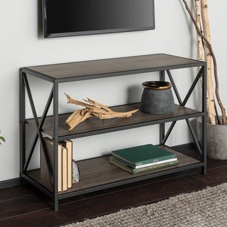 Carbon Loft 40-inch Hattie X-frame Media Bookshelf, Modern TV Stand for Living Room, Entryway