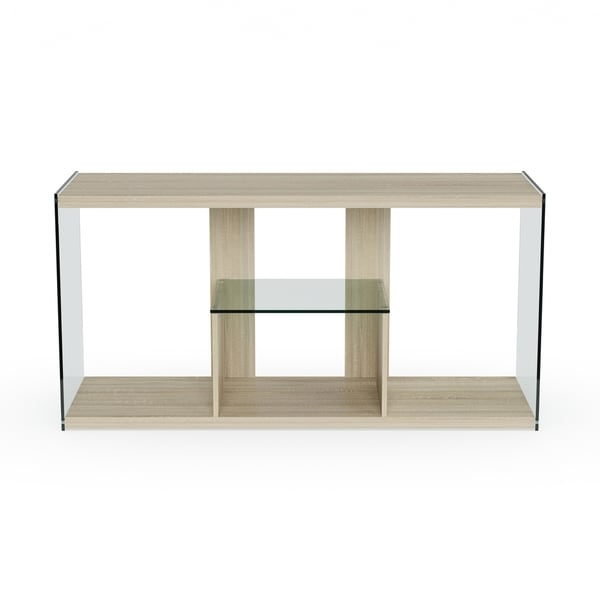 Shop Porch & Den Urqhuart Wood Glass TV Stand Overstock